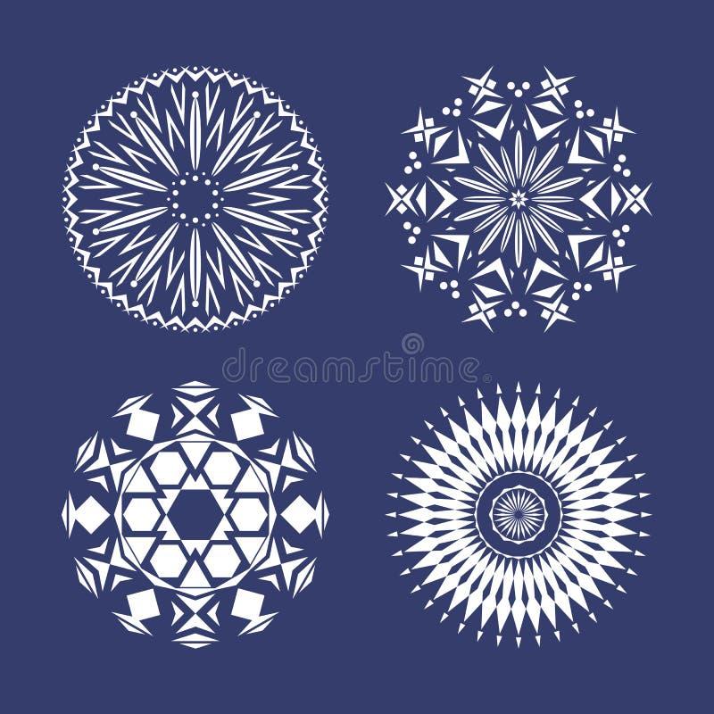 Set cztery białego płatek śniegu royalty ilustracja