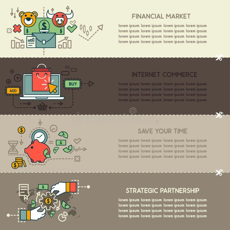 Set cztery biznesowi sztandary ilustracji