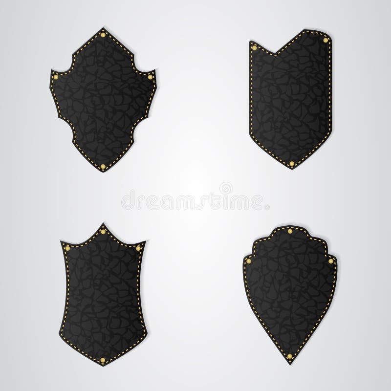 Set cztery czarna rzemienna osłona z złocistą nicią royalty ilustracja