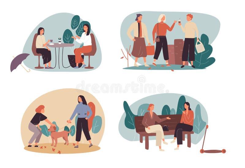 Set cztery czas wolny lub czas wolny kreskówki ilustracje z kobietami cieszy się kawę wpólnie, chodzi w miastowym parku royalty ilustracja
