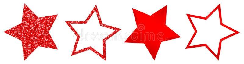 Set Cztery Czerwonej gwiazdy Błyska I Błyszczy Z cieniem ilustracja wektor