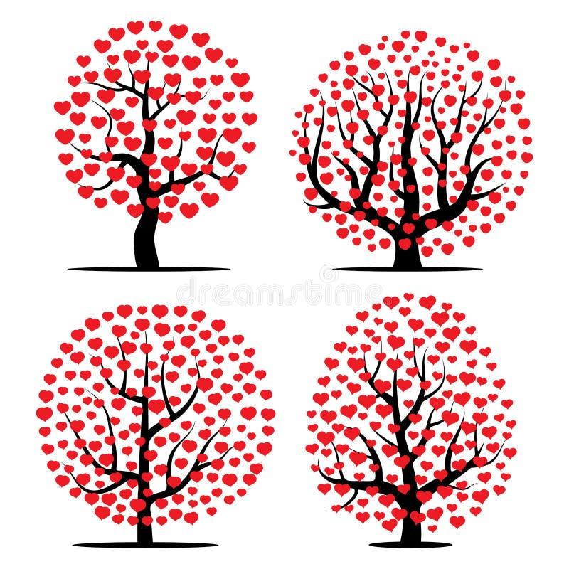 Set cztery drzewa z czerwonymi sercami ilustracji