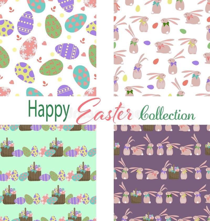 Set cztery Easter wzoru ilustracja wektor