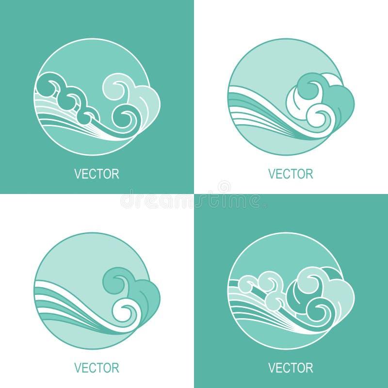 Set cztery eco wody okręgu loga prosty szablon ilustracji