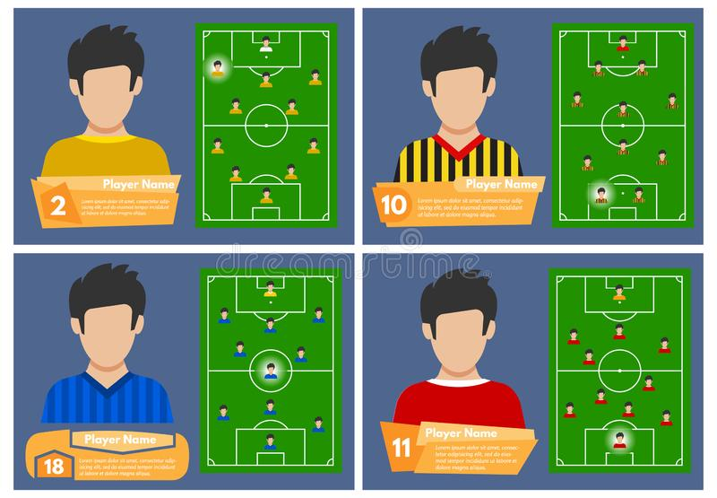 Set cztery gracz futbolu z pozycją na polu dokąd bawić się ilustracji