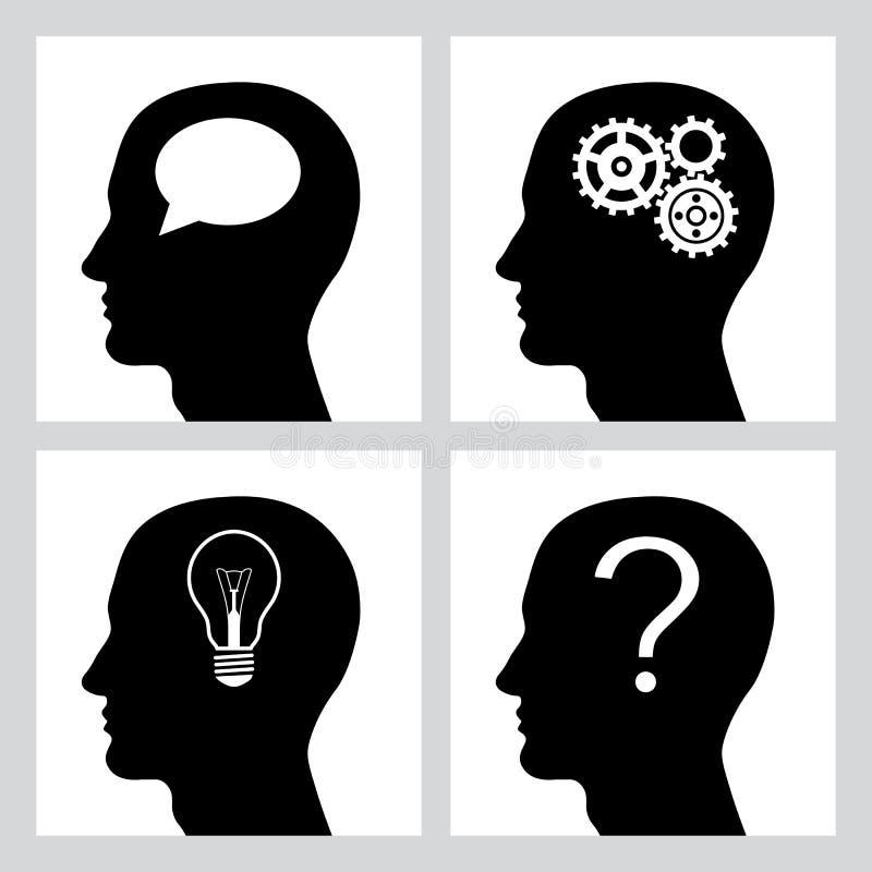Set cztery ikony z istota ludzka profilem Kierownicza sylwetka z przekładniami, żarówka, pytanie i mowa, gulgoczemy również zwróc royalty ilustracja