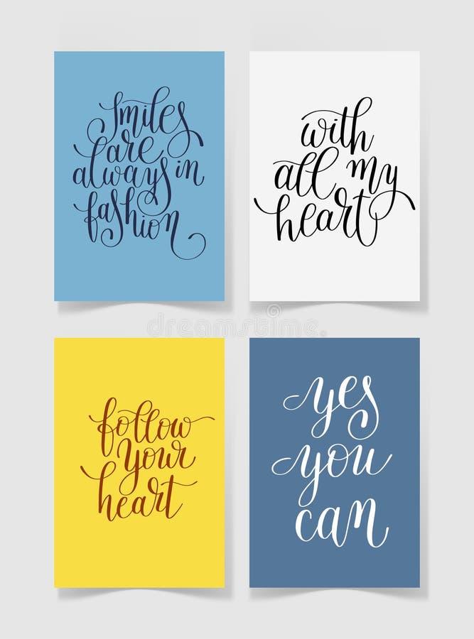 Set cztery jaskrawych kolorów literowania pozytywu ręcznie pisany wycena ilustracji