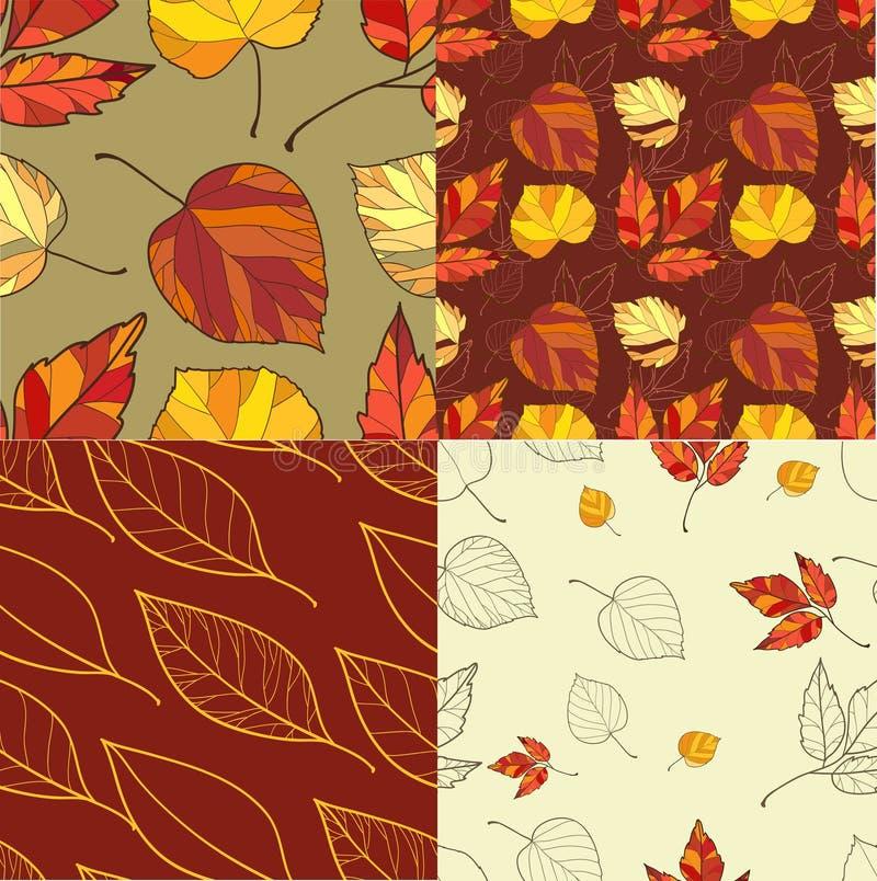 Set cztery jesień liści tła royalty ilustracja
