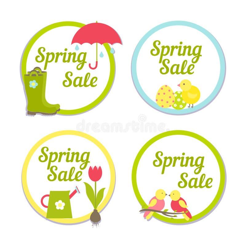 Set cztery kurendy wiosny sprzedaży etykietki royalty ilustracja