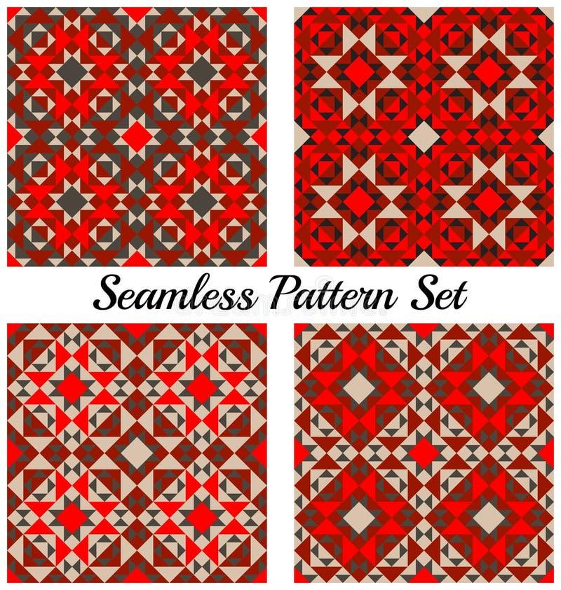Set cztery modnego geometrycznego bezszwowego wzoru z różnymi kształtami czerwień, czerń i siwieje cienie ilustracja wektor