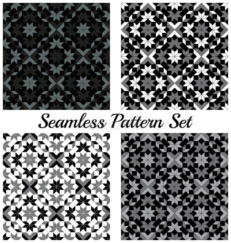 Set cztery modnego geometrycznego bezszwowego wzoru z rhombus, kwadratem, trójbokiem i gwiazdowymi kształtami, czerni, popielatyc ilustracja wektor