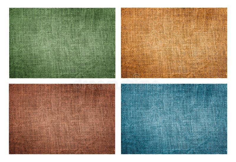 Set cztery naturalnej brezentowej tekstury obrazy royalty free