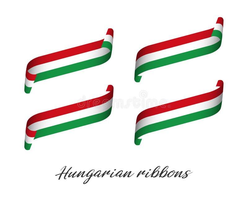 Set cztery nowożytnego barwionego wektorowego faborku z Węgierski tricolor ilustracja wektor