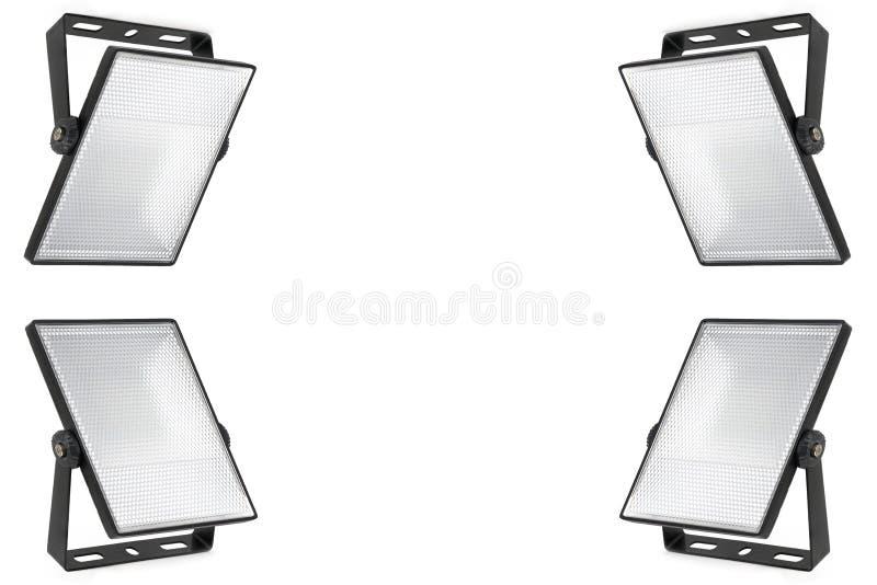 Set cztery odizolowywał dowodzonych światło reflektorów na białym tle Półprzezroczysty dyfuzor z małymi komórkami Wysoka rozdziel fotografia royalty free