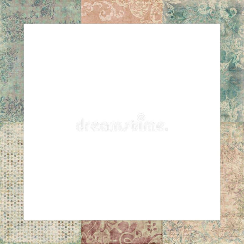 Set cztery podławych rocznika kwiecistych ramy ilustracja wektor