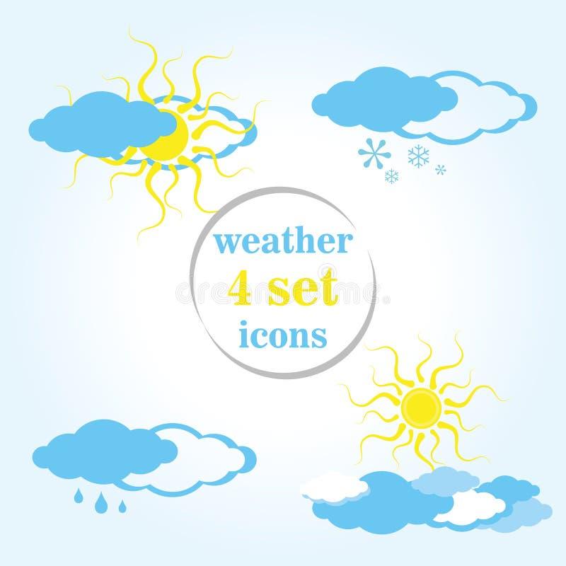 Set cztery Pogodowej ikony ilustracji
