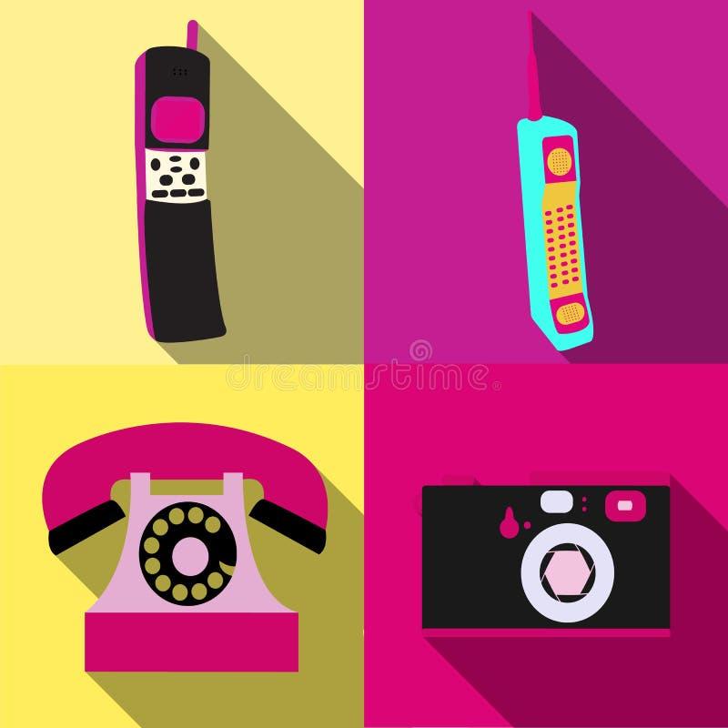 Set cztery prostej mieszkanie stylu ikony z długim cieniem starego retro rocznika modnisia antykwarskie elektronika, komórkowy mo ilustracja wektor