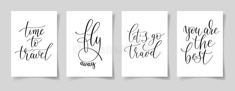 Set cztery ręka pisać na papierze A4 piszący list pozytyw wycena royalty ilustracja