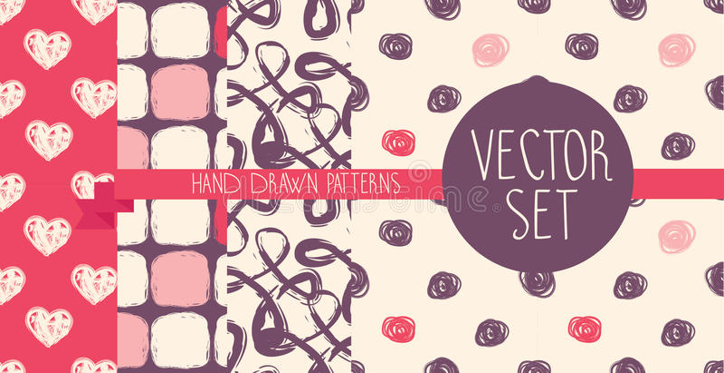 Set cztery ręka rysującego bezszwowego wzoru ilustracja wektor