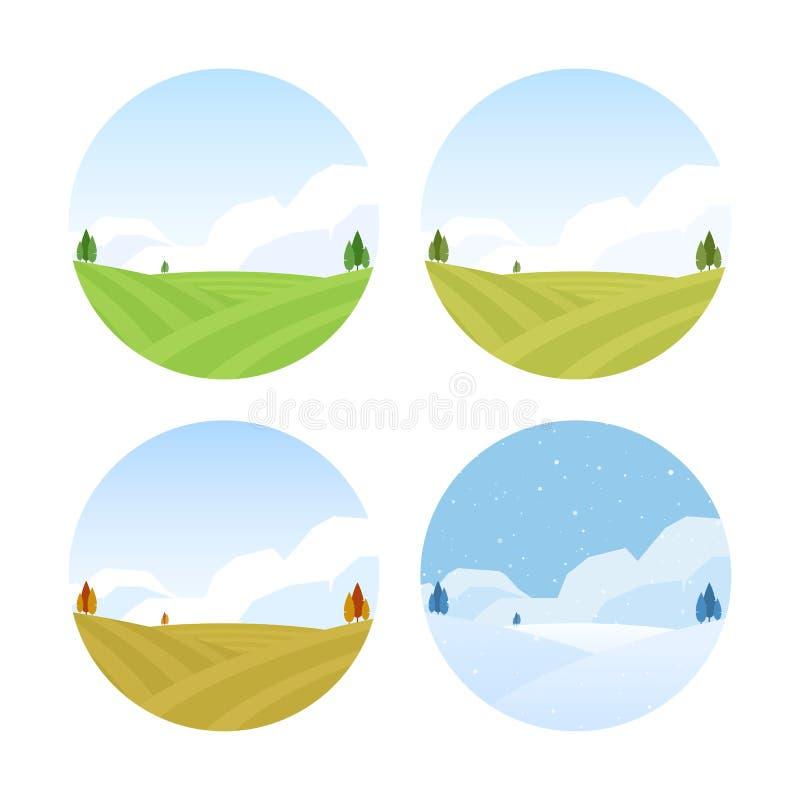 Set Cztery sezonów Wiejski krajobraz z polami jesień wiosna lato zima ilustracji