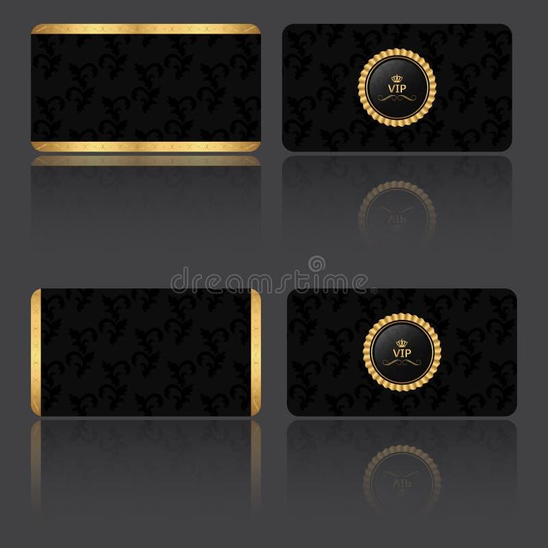 Set cztery VIP karta w roczniku czerstwym, z dwa niskimi i lateral dwa paskami z etykietką ilustracji