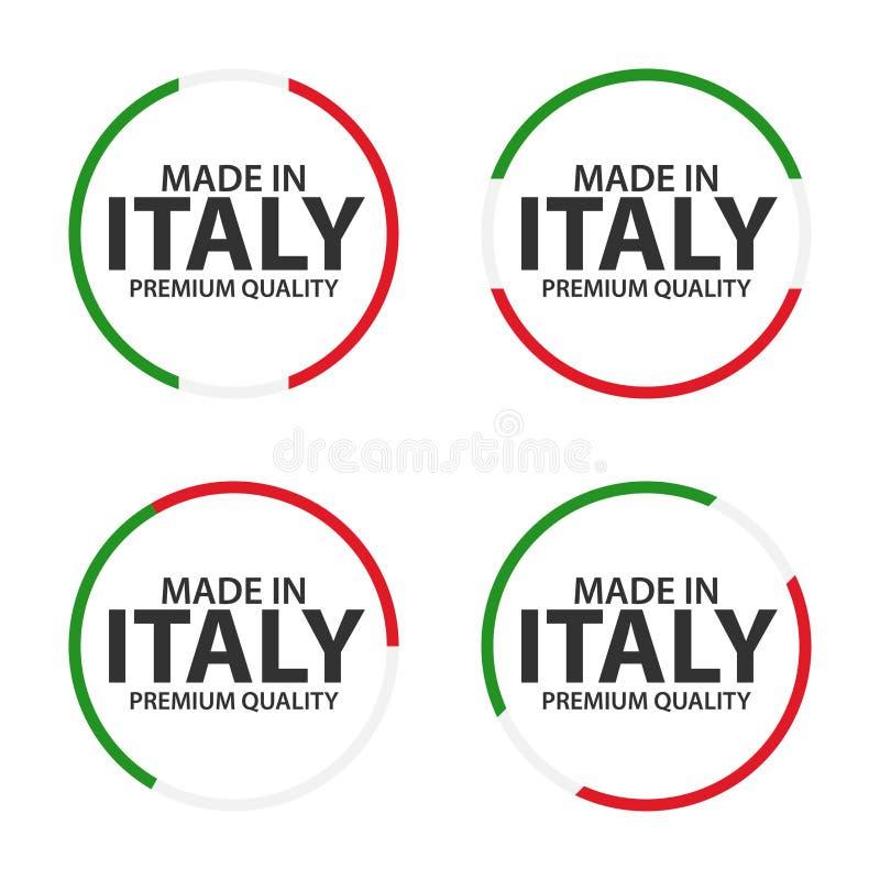 Set cztery Włoskiej ikony, Robić w Włochy, premii ilości majcherach i symbolach, ilustracji