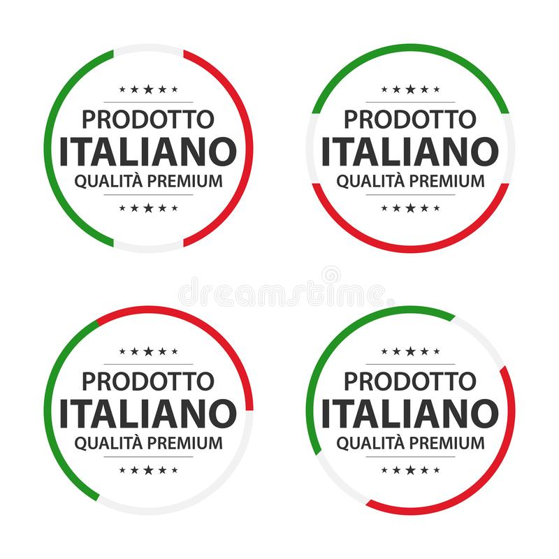 Set cztery Włoskiej ikony, włoszczyzna tytułowy Włoski produkt, Robić w Włochy premii ilości majcherach ilustracji