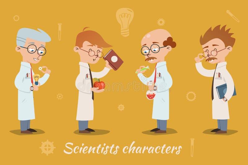 Set cztery wektorowego naukowa charakteru ilustracja wektor