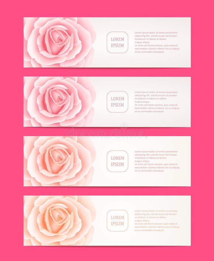 Set cztery wektorowego sieć sztandaru z różami kwitnie ilustracja wektor