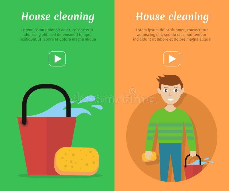 Set Czyścić Usługowego mieszkania stylu sieci sztandary royalty ilustracja