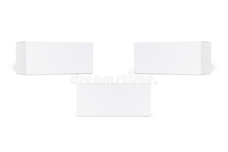Set dłudzy biali kartony odizolowywający na białym tle Set pakuje pudełka odizolowywających pusty produkt realistyczny ilustracji