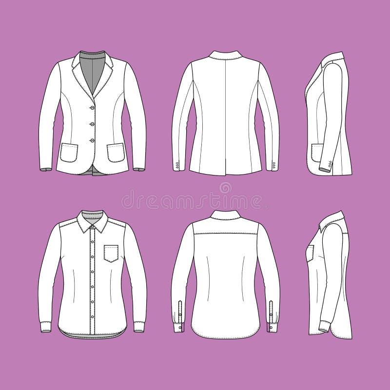 Set dłudzy rękawy koszula i blezer royalty ilustracja