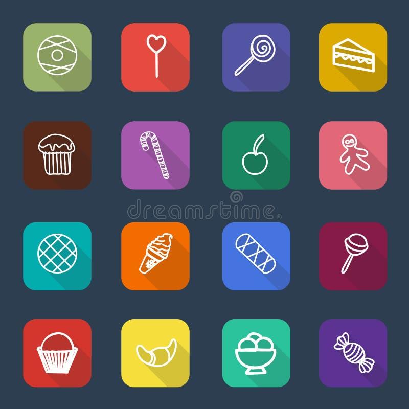 Set długie cieni cukierków i cukierków ikony, wektor ilustracji