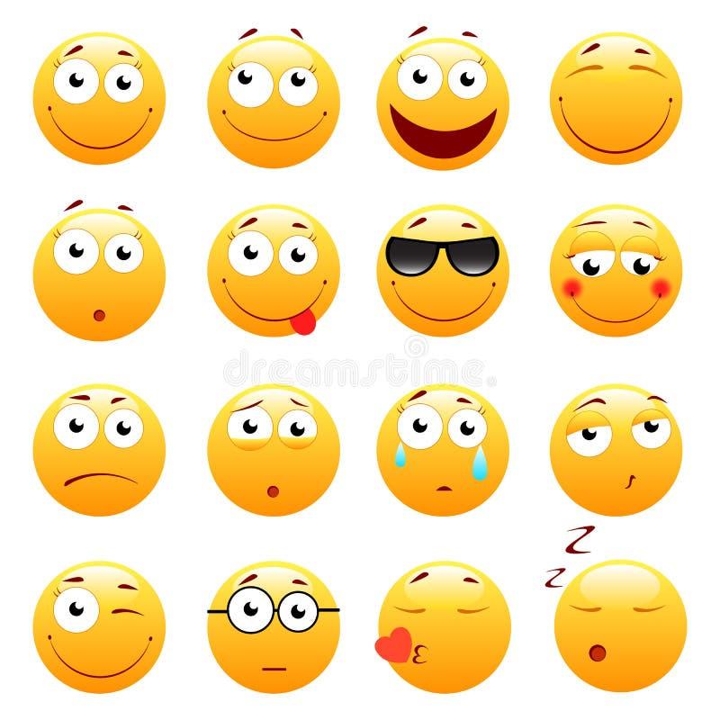 Set 3d śliczni Emoticons Emoji i uśmiech ikony pojedynczy białe tło również zwrócić corel ilustracji wektora ilustracja wektor