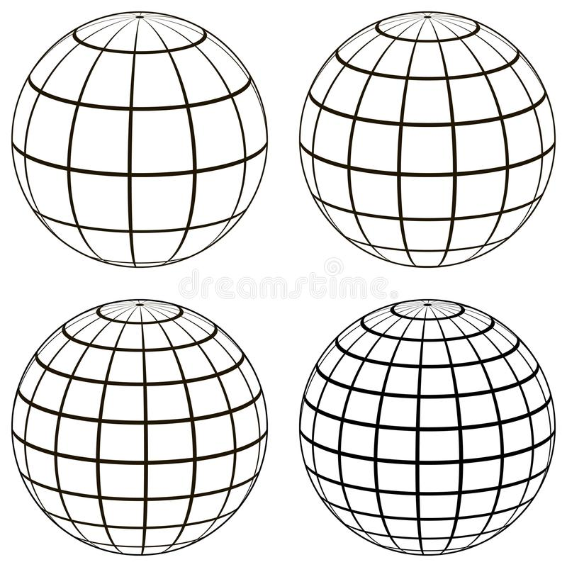 Set 3D ball globe model of the earth sphere with a coordinate grid, stock illustration