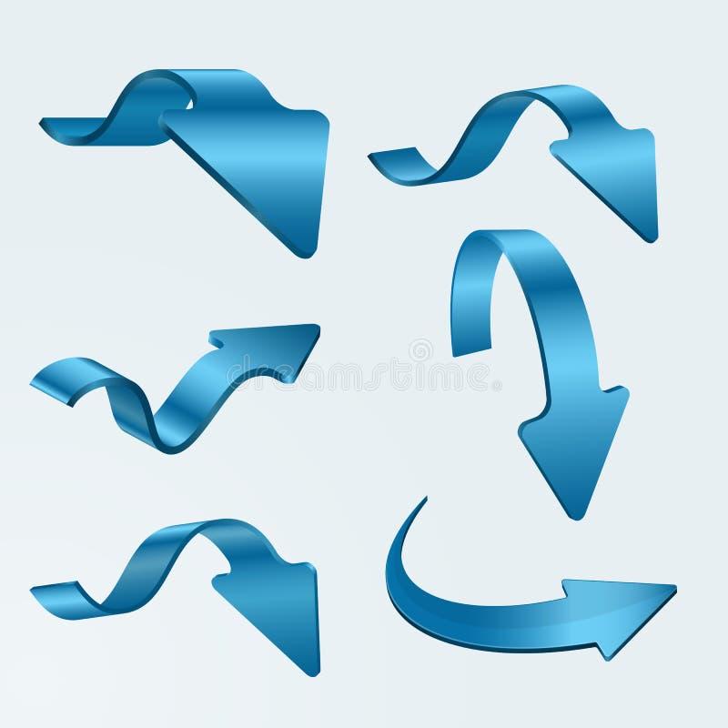 Download Set of 3D blue arrows stock image. Image of drop, link - 30731571