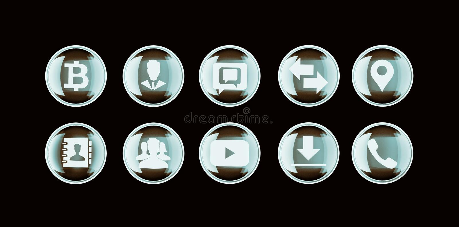 Set of 3d button and flat icons for Business, SEO and social med. Set of 3d button and flat icons for Business, SEO and media marketing stock images