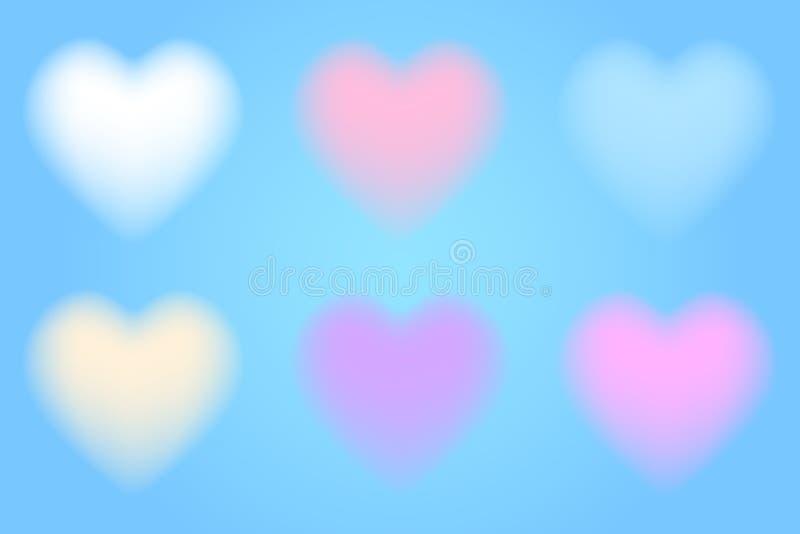 Set 3d chmurni serca ilustracji