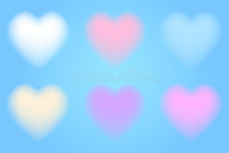 Set of 3d cloudy hearts stock illustration