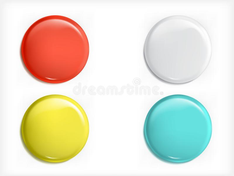 Set of 3D design elements, glossy icons, buttons, badge blue, red, yellow and white isolated royalty free illustration