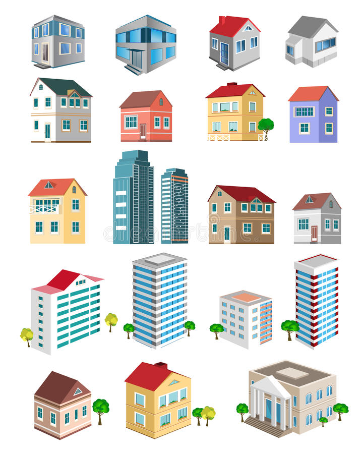 Set of 3d detailed buildings with different types of perspective: skyscrapers, real estate houses stock illustration