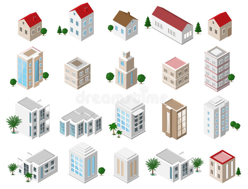 Set of 3d detailed isometric city buildings: private houses, skyscrapers, real estate, public buildings, hotels. Building icons co stock illustration