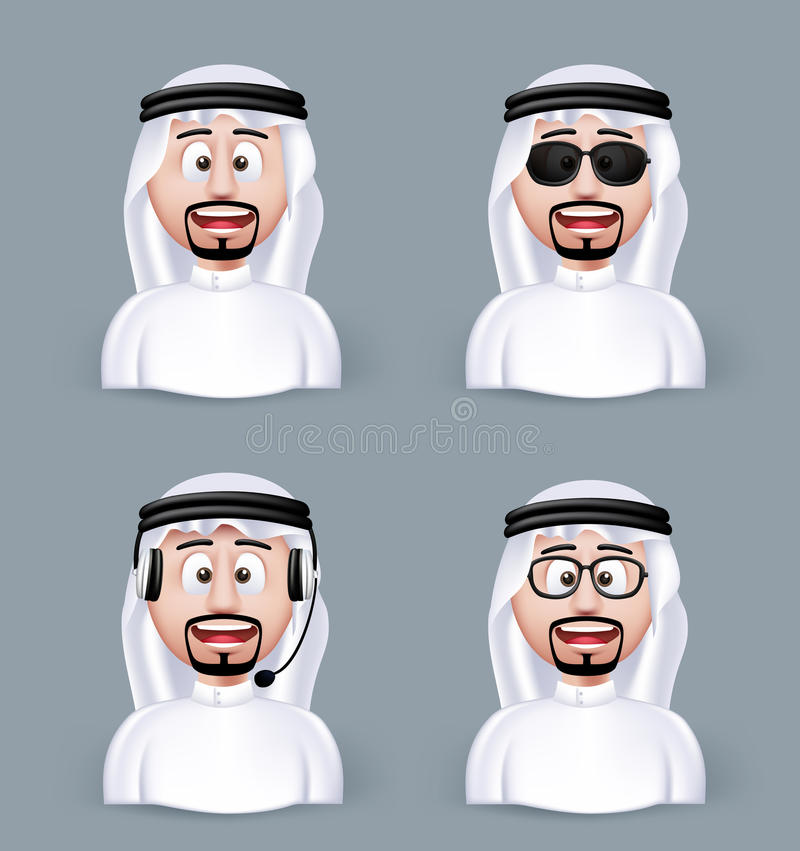 Set of 3D Dimension Arab Man in Different Professional. And Business Man Characters and Avatars in traditional Cloths or Thobe Isolated in WHite Background vector illustration