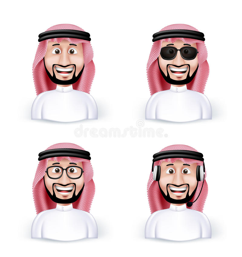 Set of 3D Dimension Saudi Arab Man. In Different Professional and Business Man Characters and Avatars in traditional Cloths or Thobe Isolated in WHite vector illustration