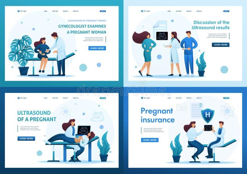 Set 2D Flat Konzepte Untersuchung schwangerer Frauen und Behandlung von Schwangerschaften Für Landing Page Konzepte und Webdesign vektor abbildung