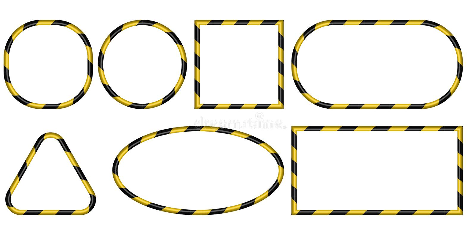 Set of 3D frames, yellow and black stripes ribbon pattern, vector, warning of the danger of the industrial framework royalty free illustration