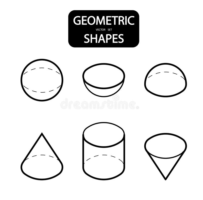 Set of 3D geometric shapes. Isometric views. The science of geometry and math. Linear objects isolated on white background. Outlin. E. Vector illustration stock illustration