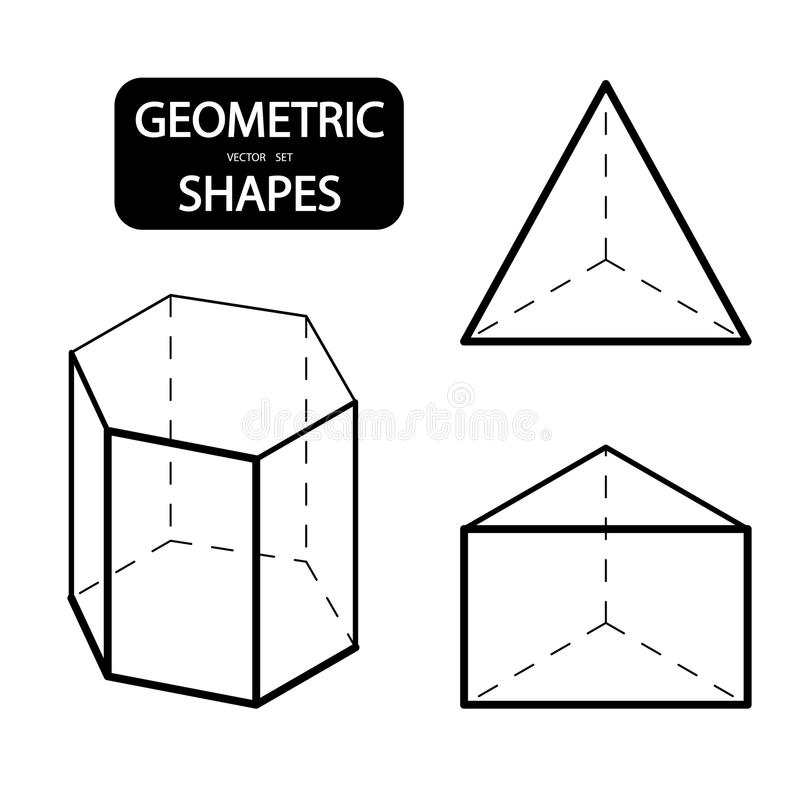 Set of 3D geometric shapes. Isometric views. The science of geometry and math. Linear objects isolated on white background. Outlin vector illustration