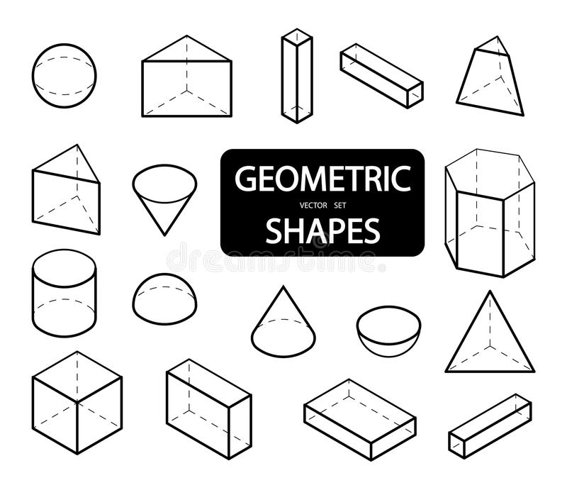 Set of 3D geometric shapes. Isometric views. The science of geometry and math. Linear objects isolated on white background. Outlin. E. Vector illustration royalty free illustration