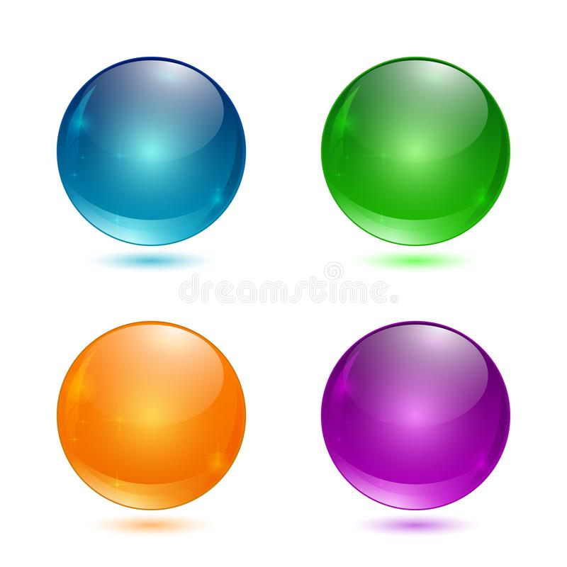 Set of 3d glass button. Glossy icons for web. Vector design round sphere, colored royalty free illustration